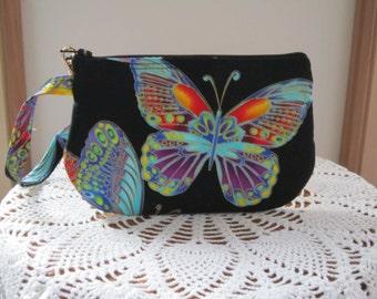 Butterflies Clutch Wristlet Zipper Gadget Pouch Smart Phone Bag