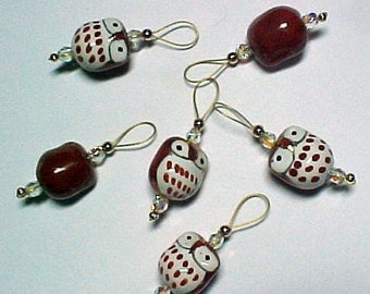 Brown Ceramic Owl Stitch Markers - Set of 6 -  US 10 - Item No. 869