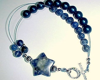 Row Counter Bracelet -  Stardust and Denim With Sodalite Gemstones - Item No. 604
