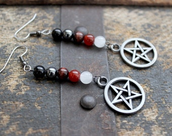 Fire Magic Gemstone Pentacle Earrings - Witchcraft - Wicca - Elements