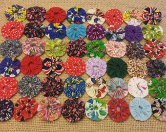 """Small YoYo Quilt for table 10"""" X 8"""" multicolor"""