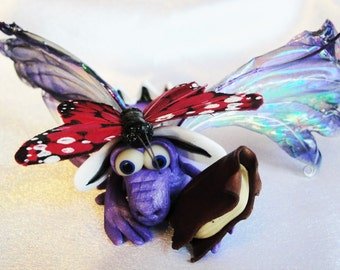 Dragon and a Butterfly - OOAK ELEMENTAL DRAGONS