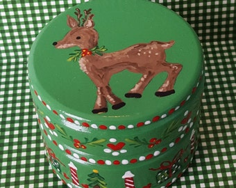 Hand Painted Love Boxes Christmas Rudolf Reindeer Tinket Box Wood