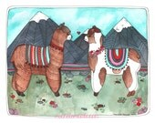 Llama Art Print - Llama Illustration - Animal Art Print - Illustration Art - Watercolor Art Print - Art for Kids Room - Llamas in Love
