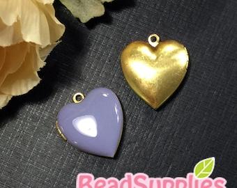 CH-EX-08055LC - Nickel Free, Heart-shaped locket, lilac, 2pcs