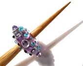 Purple, clear & aqua Handmade glass whorl, oak spindle, one whorl or support spindle set, Medieval inspired bead, light weight spinning