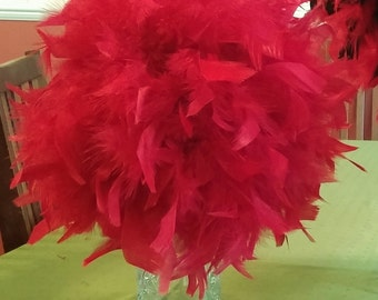 """10"""" Feather Kissing Ball, Red Feather Ball,Feather Pomander,feather centerpiece,Team colors,wedding,Christmas,Valentine, banquets,aisle"""