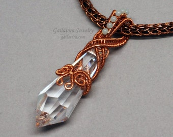 Clear Crystal Prism, Amazonite and Copper Necklace