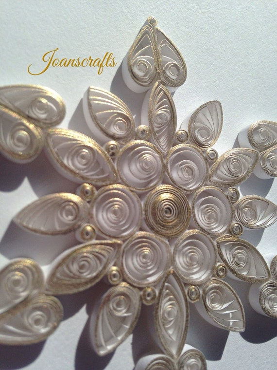 Glistening Gold Quilled Snowflake Ornament