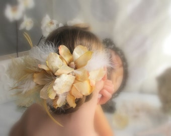 Velvet Magnolia v.2 - Flower and Feather Bridal Headpiece in Cream and Gold, Bohemian, Avant Garde