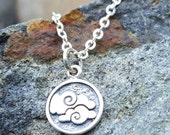 Air Element Necklace Charm - Sterling Silver Air Symbol Necklace - Cloud Charm