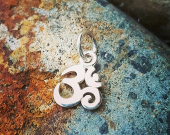Tiny Silver Om Charm - VERY SMALL - Sterling Om Necklace - Discount