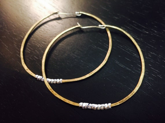 Large Forged Brass hoops with Silver Heishi