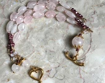 Rose Quartz and pyrite multistranded bracelet