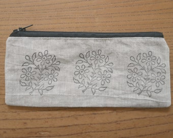 block-printed linen pencil case