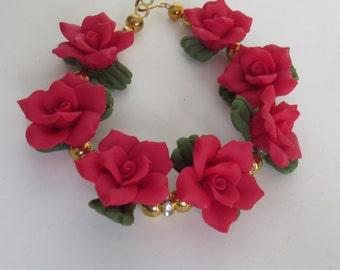 Red Cold Porcelain Floral Bracelet