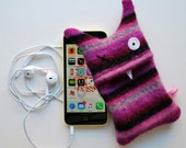 Pink, Purple, Gray and Black  Multi-Stripey Monster iPhone or iPod Cozy