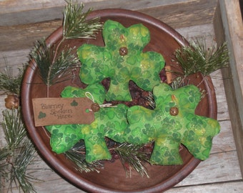 3 Primitive St. Patty's - St. Patrick's Day - Lucky Shamrocks - March 17 - Green - Bowl Fillers Ornies Ornaments Tucks