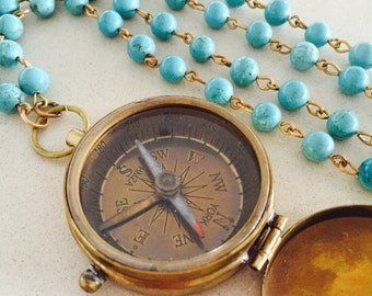 RESERVED Vintage Compass Statement Necklace Turquoise