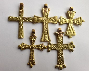 SALE - Brass/gold color Ethiopian Coptic Cross, cross pendant, Ethiopian jewelry, African pendant