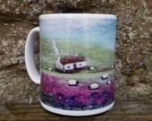 Porcelain Mug with Bothy and Highland Cow Scene Printed Image