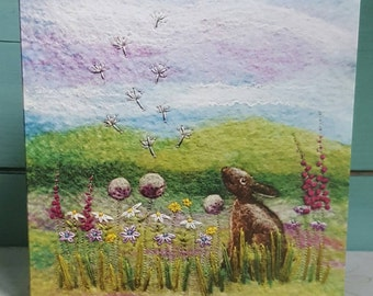 Hare Among the Wildflowers Printed Greetings Card