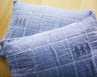 Navy Gauze pillow cases