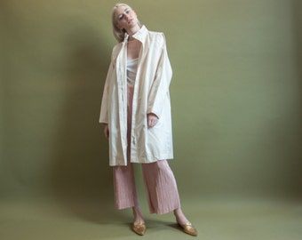 valley candle 70s white inverted pleat trench coat / minimalist coat / white trench / s / m / 967o / R3