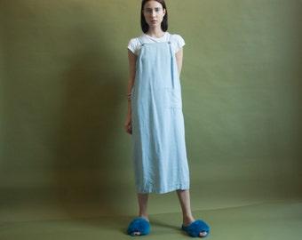 light blue linen maxi dress / linen market dress / minimalist long dress / s / m / 2019d / B7