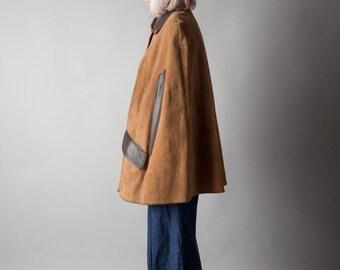 promise land suede leather cape coat / AVANT GARDE cape / oversized rain coat / s / m / l / 707o