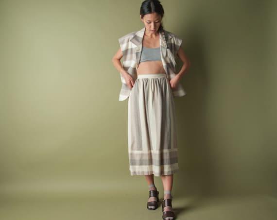 en reve striped skirt set / boxy jacket / full skirt / s / m/ 220o