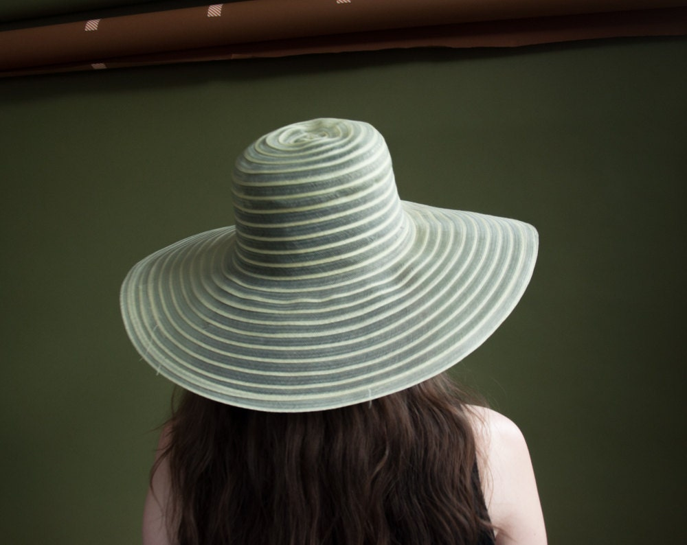 stay cool sheer woven wide brim hat striped hat vintage