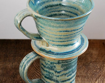 Wavy Aqua Ceramic Coffee Mug and Pour Over Set Stoneware Clay Pottery Makes the Perfect Gift Ready to Ship