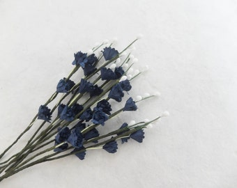 10 midnight blue mulberry paper flower - navy blue spray gypsophila