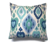 Decorative Pillow Cover Ikat Design Navy Blue Teal Periwinkle Ivory Same Fabric Front/Back Toss Throw Accent 18x18 inch x