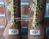 Custom hand Painting on your UGG boots with bLiNg Cheetah print Cross and initials this is the DESIGN FEE