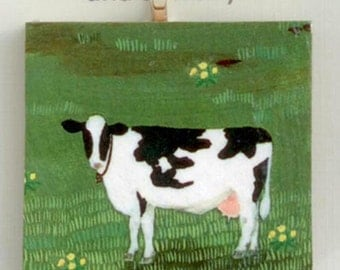 Farm Dairy Holstein Cow Decoupaged Wood Ornament or Pendant, Cow Art, Holstein Painting