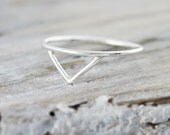Triangle ring in sterling silver - chevron silver stacking ring