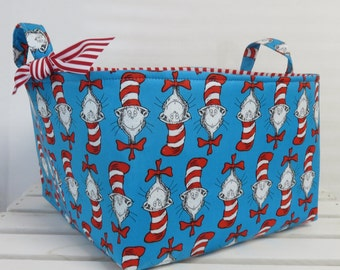 Organizer  Bin Basket - Diaper Caddy Storage - Nursery Decor - Blue Heads - Cat in the Hat Fabric  - Made with Licensed Dr. Seuss Fabric