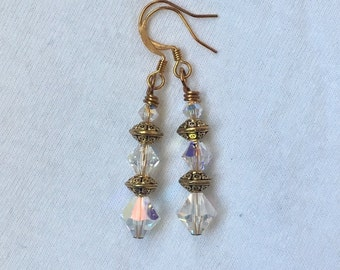 SALE! Swarovski Crystal and Gold Drop Earrings