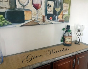 Give Thanks burlap table runner - centered