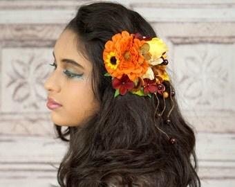 Autumn Flower Hair Clip, Fall Hair Accessory, Red and Orange Hair Clip, Autumn Flower Hair Fascinator, Fall Boho Hair Clip, Ready to Ship