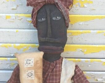 PreHalloweenSale Primitive Black Folk Art  Doll