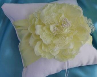 Cream or White Ring Bearer Pillow YELLOW Peony