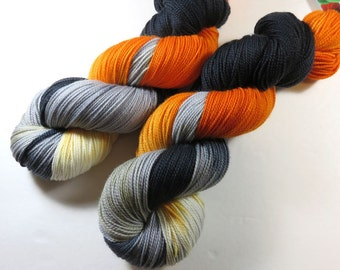 Hand Painted Superwash Merino/Nylon 2-Ply Sock/Fingering Yarn -- Caution Construction