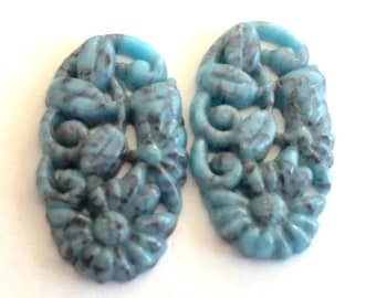 Vintage cabs (2) Japanese glass turquoise  blue matrix carved cabochons stones mottled Cherry Brand  oval 22 x 12mm (2)