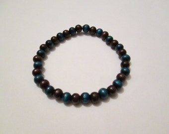 Brown and Blue Wooden Beaded Stretchy Bracelet