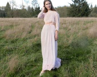 Edwardian Pink Sheer Lingerie Dress XS