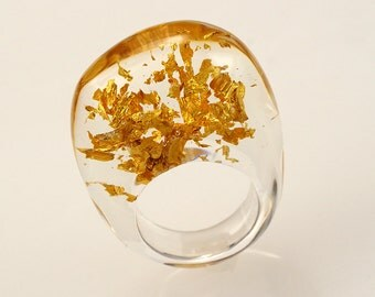 Gold 24K Resin Ring, Unique Clear Resin Ring with  Real 24K Gold Leaves, Fashion Ring