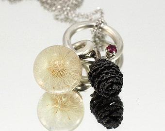 Forest Fairy Pendant, Dandelion and Cone with Synthetic Ruby Necklace, Resin Pendant
